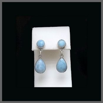 2 Stone Pear Drop Larimar Post Earrings